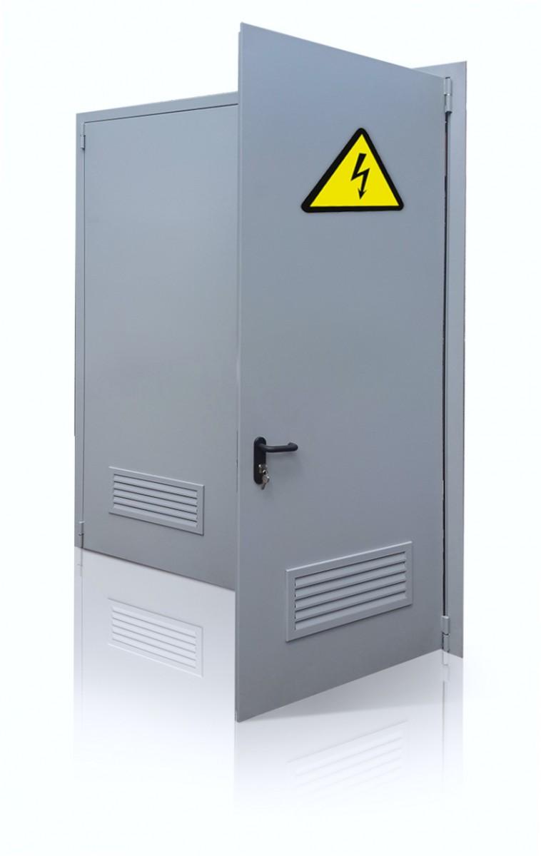 Огнестойкая дверь с вентрешеткой для электрощитового помещения