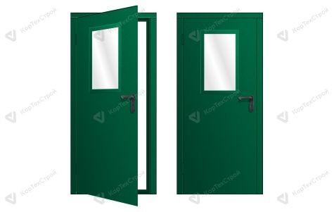 Техническая дверь со стеклом не стандарный цвет