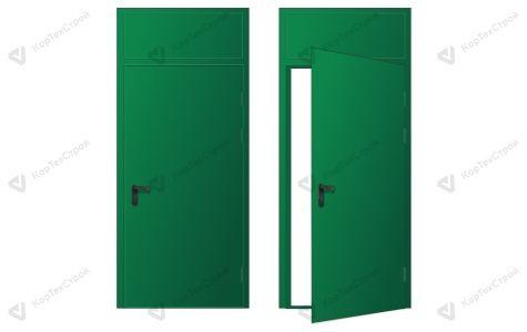 Дверь с фрамугой Ei-60 ДПМ-1 зеленая