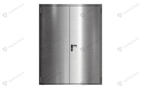 Противопожарная двупольная дверь из нержавеющей стали